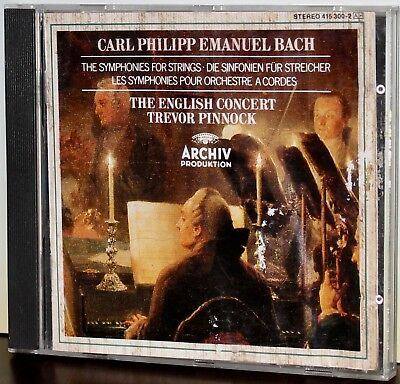 ARCHIV CD 415 300-2: CPE BACH - Symphonies for Strings - PINNOCK - GERMANY 1980