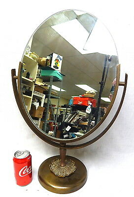 Art Deco Large Brass Oval Department Store Counter Vanity Flip Mirror Antique