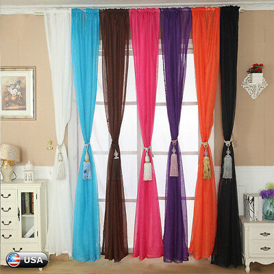 Home Floral Tulle Voile Door Window Curtain Drape Panel Sheer Scarf Valances US