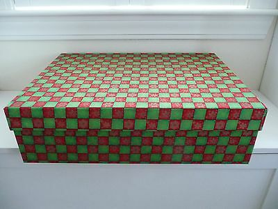 Set Of 2 Red & Green Plaid Christmas Gift Or Ornament Storage Chest Boxes - Euc