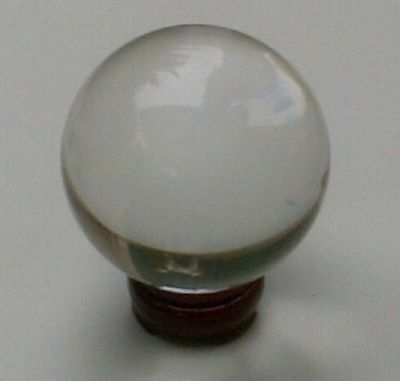 Clear Crystal Ball 80mm with Wooden Stand. Sphere Fortune Teller FREE POSTAGE