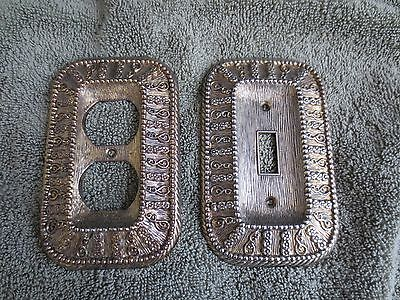 Set of Two (2) Vintage Metal Light Switch Covers Brass? Amer. Tack & HDWE Co.