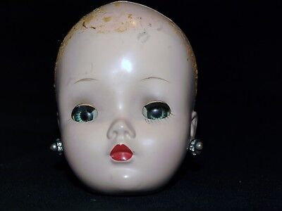 "1950s Vintage Madame Alexander 20"" CISSY Doll HEAD with earrings"