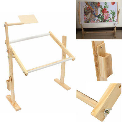 Adjustment Wooden Floor Stand Holder Embroidery Frames Cross Stitch Craft Set