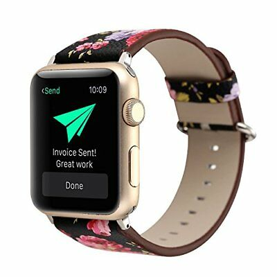 Watch Band For Apple Series 1/2/3 Stylish Leather Replacement Strap-42mm Flower