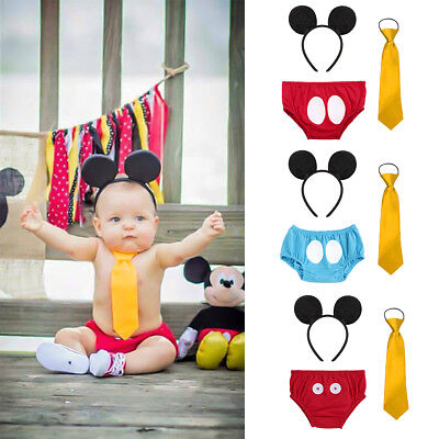 3PCS Set Mickey Mouse Baby Boy 1st Birthday Party Cake Smash Photo Prop Outfits