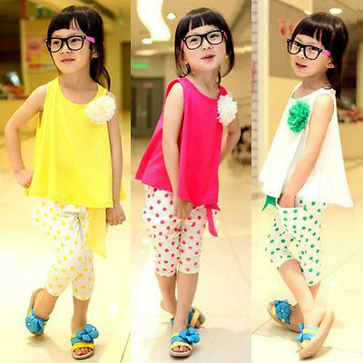 Toddler Kids Baby Girls Flower Vest Shirt Tops+Pants Outfit Clothes 2PCS Set UK