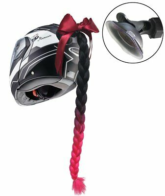 Helmet Pigtail Ombre Black to Red Bowknot Helmet Ponytail with Suction UP