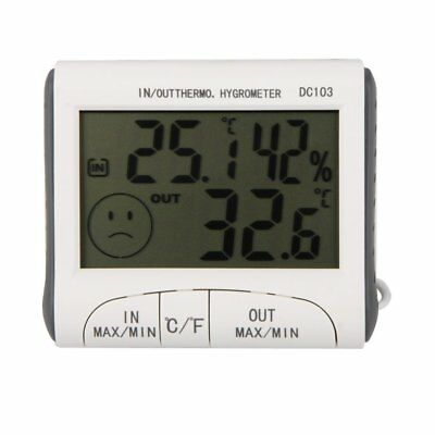 LCD Digital Thermometer Hygrometer Moisture with External Sensor White Z8R3