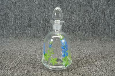 """Vintage Glass Cruet W/ Stopper 5 1/2"""" Floral Made In Hungary"""