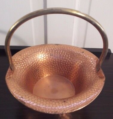 Vintage hammered Copper Basket with Brass Swivel Handle ~ Country ~ Rustic Decor