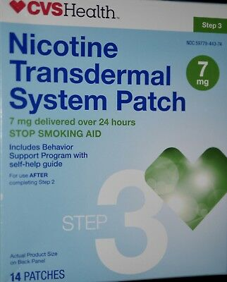 Cvs Nicotine Transdermal System Patch Step 3 7Mg. 14 Patches Exp:12/2017