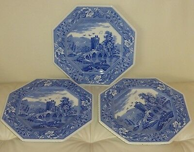 """The Spode Blue Room Sutherland Collection Lucano 9.5"""" Wide Octagonal Plates"""