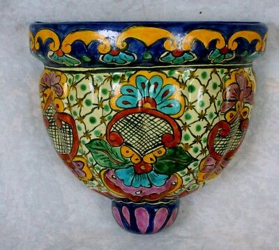 Vintage Old Mexican Talavera Pottery Wall Hanging Planter Ceramic Sconce