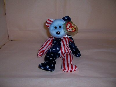 Ty Beanie Baby Spangle the Blue Face Bear 1999 Errors - Retired MWMT