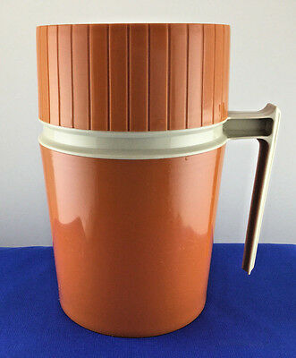 Vintage 10oz Thermos #7002 Orange Wide Mouth Glass Lined King Seeley Hot/Cold