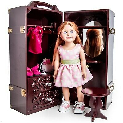 """Clothes Storage Trunk Case, Hanger For 18 """" Inch American Girl Doll Furniture MA"""
