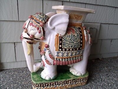 Vintage Antique Elephant Garden Stool Plant Stand Ceramic Accent Table Asian