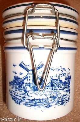"Vtg Delft Blue & White Windmill Teleflora 5"" Canister / Jar with Locking Lid"