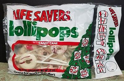 NOS Vintage 1980's Life Savers Lollipops Candy Cane Bag Christmas Tree Ornaments