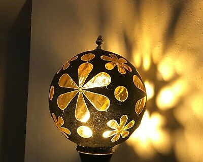 Vintage Mid Century Modern Swag Hanging Lamp Amber Glass Flower Power-Globe Only