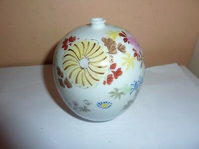 Early 20Thc Japanese Porcelain 11.5Cm Small Neck Vase With Painted Flowers &leaf