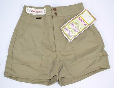 Vtg 1970's Khaki HIGH WAIST Short SHORTS Double Snap Elastic Back 5/6 NOS
