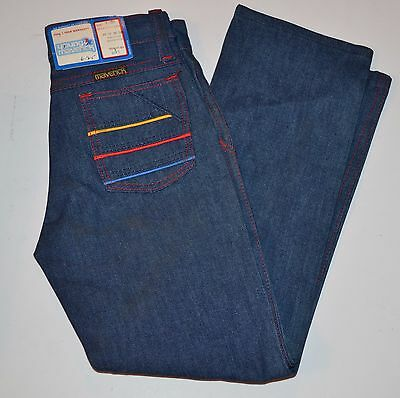 Vtg 1980's Young Maverick Girls Embroidered Stripe Pocket Blue Jeans - 6 Slim