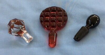 Antique Vintage Glass Stoppers  Bottles Decanters Perfume Ruby Red