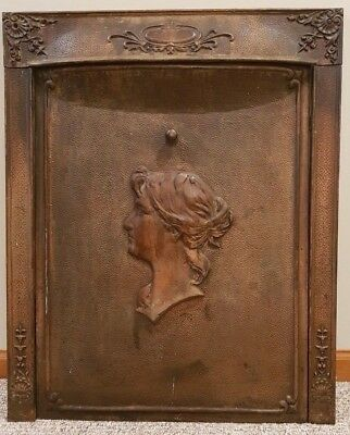 Antique Cast Iron Fireplace Cover w/ Frame, Victorian Portrait of Woman, Girl