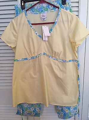 Maternity Outfit Oh Baby Cotton Yellow Short Sleeve Blue Floral Crop Pants NWT