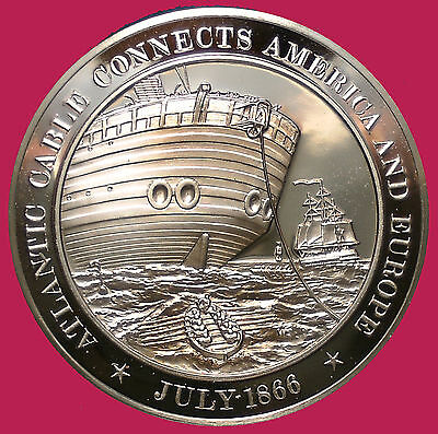 1866 Atlantic Cable Connects America and Europe - Franklin Mint Bronze Medal