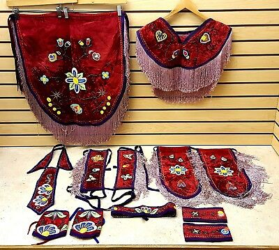 Nice Hand Crafted Red 13 Pc. Beaded Flower Des. Native American Indian Dance Set
