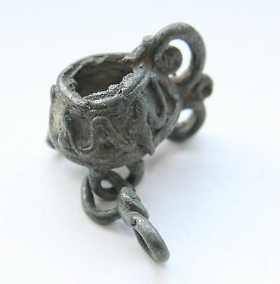 Ancient Old Zoomorphic Bronze Amulet Pendant Viking Period