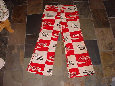 "Vintage,UNUSED 1970's Coca-Cola Bell Bottom Pants Drawstring Waist 34"" x 28"""