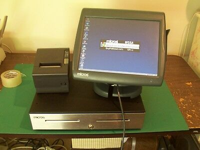 MICROS POS Workstation 5A Work Station 400814-101  +Drawer & Printer System WS5A