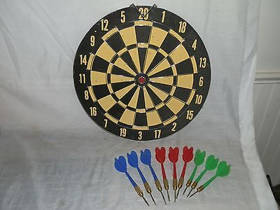 "Vintage, 2 Sided, Dartboard & Baseball Game, 12"", Metal Rimmed, & Darts"