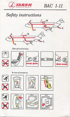 Tarom Romanian Air Transport Bac1-11 Safety Card