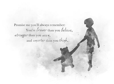 ART PRINT Winnie the Pooh Quote, Disney Christopher Robin, Gift, Nursery, B & W
