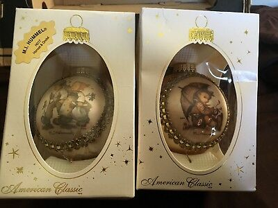 Lot 2 M J Hummel Silk Picture Collectible Christmas Glass Ball Ornament new 2001