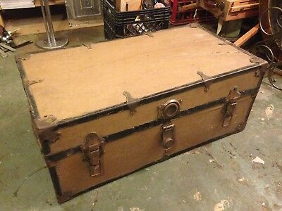 Large Antique Wood Brass Floral Lined Leather Handles Storage Table TRUNK CHEST