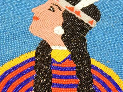 Vintage Yakima Indian Fuly Beaded Pictorial Flat Bag / Pouch - Xlnt Condition