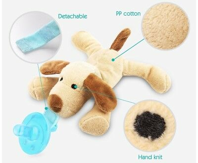 Babymals Plush Animal Puppy Detachable Pacifier and Teether Holder w/Squeeker
