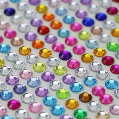 Self Adhesive Glitter Crystals Gems Sticker 6mm/3mm Jewels Diamante Stick Decor