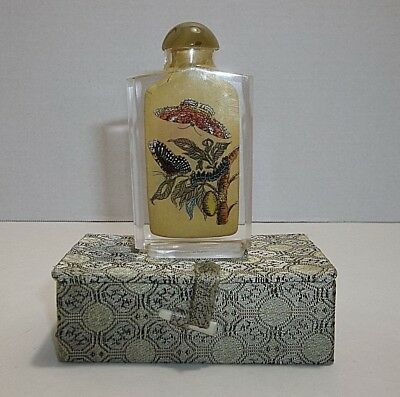 Vintage Chinese Snuff Bottle Reverse Painted BUTTERFLIES Flowers In Box