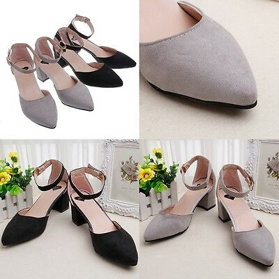 Women Sexy Chunky Point Toe Buckle Strap Shoes Ankle Strap Dressy Mid Heels Shoe