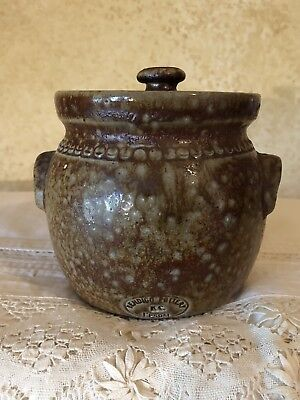 Vintage Australian Bendigo Pottery Epson Advertising Monbulk Jam Jar With Lid