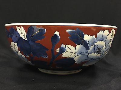 Vintage Japanese Hand Painted GOLD IMARI Floral Decorated Porcelain Bowl-Signed