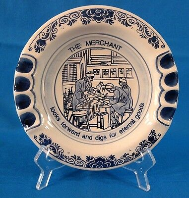 "Delft Blue Hand Painted ""The Merchant"" Plate Made in Holland"