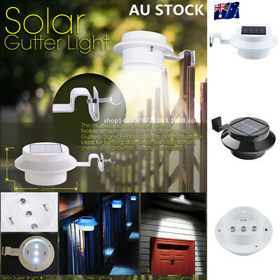 4 Pack 3-LED Solar Powered Outdoor Roof Fence Light Waterproof Night Lamp Garden